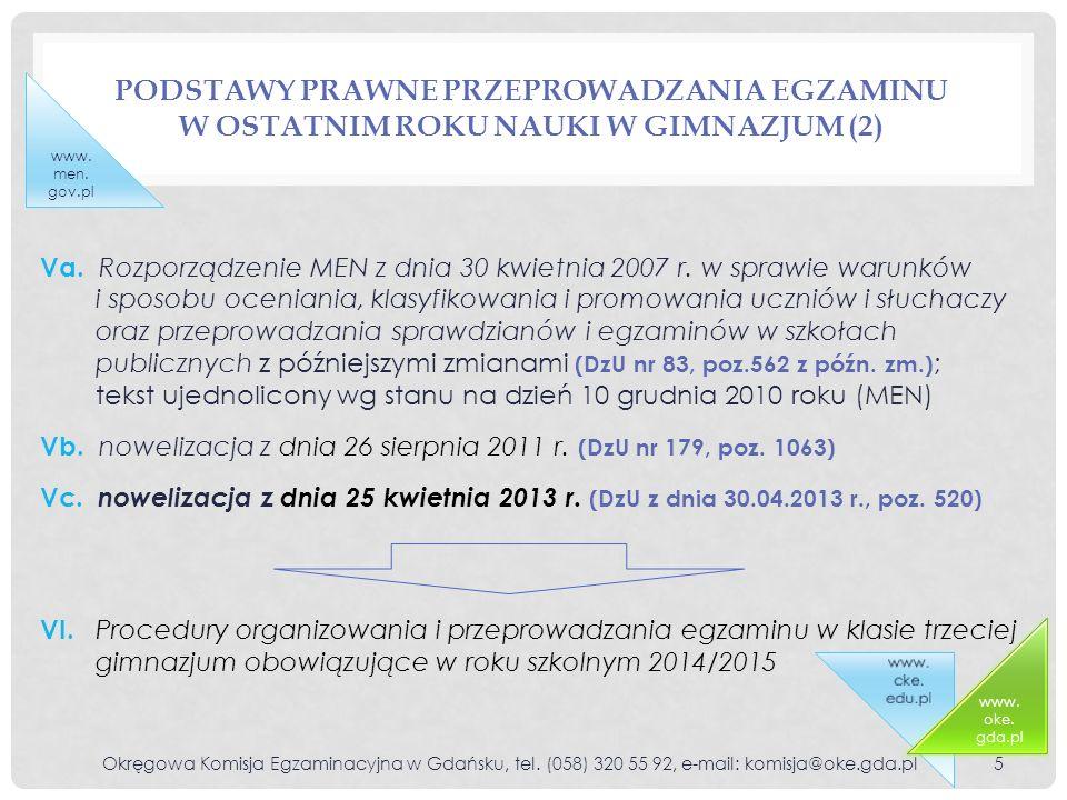 PODSTAWY PRAWNE PRZEPROWADZANIA EGZAMINU W OSTATNIM ROKU NAUKI W GIMNAZJUM (2) Okręgowa Komisja Egzaminacyjna w Gdańsku, tel. (058) 320 55 92, e-mail: