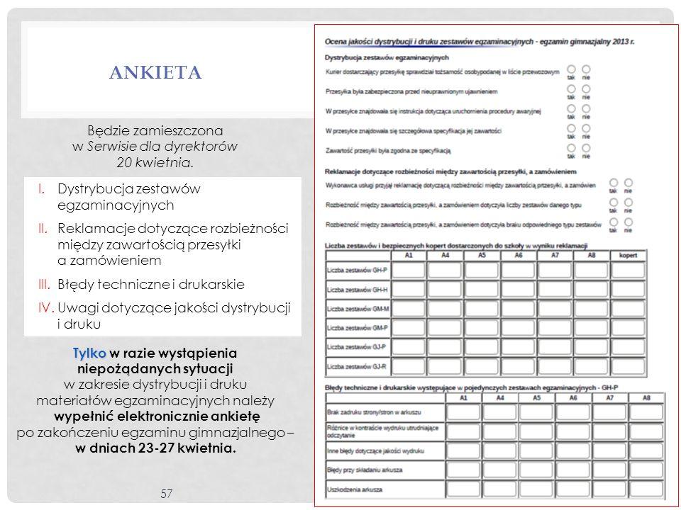 57 ANKIETA Będzie zamieszczona w Serwisie dla dyrektorów 20 kwietnia. Tylko Tylko w razie wystąpienia niepożądanych sytuacji w zakresie dystrybucji i