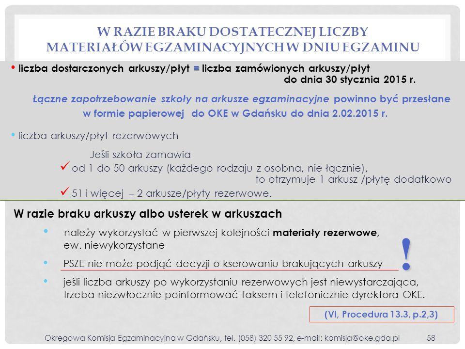W RAZIE BRAKU DOSTATECZNEJ LICZBY MATERIAŁÓW EGZAMINACYJNYCH W DNIU EGZAMINU = liczba dostarczonych arkuszy/płyt = liczba zamówionych arkuszy/płyt do dnia 30 stycznia 2015 r.