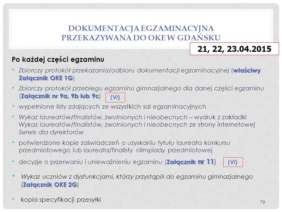 DOKUMENTACJA EGZAMINACYJNA PRZEKAZYWANA DO OKE W GDAŃSKU Po każdej części egzaminu właściwy Załącznik OKE 1G Zbiorczy protokół przekazania/odbioru dokumentacji egzaminacyjnej ( właściwy Załącznik OKE 1G ) Załącznik nr 9a, 9b lub 9c Zbiorczy protokół przebiegu egzaminu gimnazjalnego dla danej części egzaminu ( Załącznik nr 9a, 9b lub 9c ) wypełnione listy zdających ze wszystkich sal egzaminacyjnych Wykaz laureatów/finalistów, zwolnionych i nieobecnych – wydruk z zakładki Wykaz laureatów/finalistów, zwolnionych i nieobecnych ze strony internetowej Serwis dla dyrektorów potwierdzone kopie zaświadczeń o uzyskaniu tytułu laureata konkursu przedmiotowego lub laureata/finalisty olimpiady przedmiotowej Załącznik nr 11 decyzje o przerwaniu i unieważnieniu egzaminu ( Załącznik nr 11 ) Załącznik OKE 2G Wykaz uczniów z dysfunkcjami, którzy przystąpili do egzaminu gimnazjalnego ( Załącznik OKE 2G ) kopia specyfikacji przesyłki 79 (VI) 21, 22, 23.04.2015