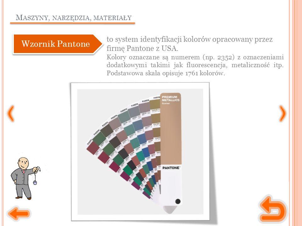 M ASZYNY, NARZĘDZIA, MATERIAŁY to system identyfikacji kolorów opracowany przez firmę Pantone z USA.