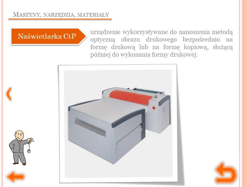 M ASZYNY, NARZĘDZIA, MATERIAŁY urządzenie wykorzystywane do nanoszenia metodą optyczną obrazu drukowego bezpośrednio na formę drukową lub na formę kopiową, służącą później do wykonania formy drukowej.