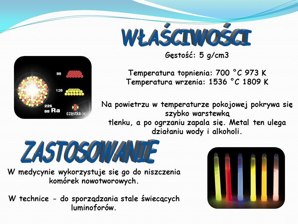 Gęstość: 5 g/cm3 Temperatura topnienia: 700 °C 973 K Temperatura wrzenia: 1536 °C 1809 K Na powietrzu w temperaturze pokojowej pokrywa się szybko warstewką tlenku, a po ogrzaniu zapala się.