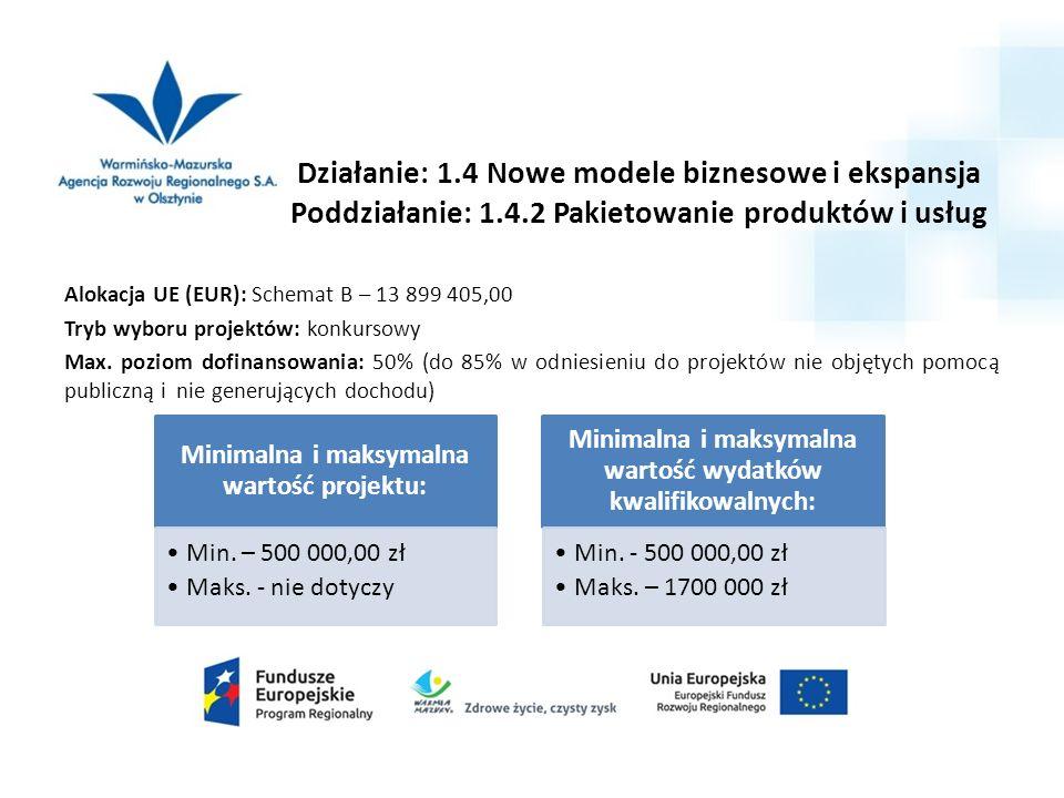 Działanie: 1.4 Nowe modele biznesowe i ekspansja Poddziałanie: 1.4.2 Pakietowanie produktów i usług Alokacja UE (EUR): Schemat B – 13 899 405,00 Tryb wyboru projektów: konkursowy Max.
