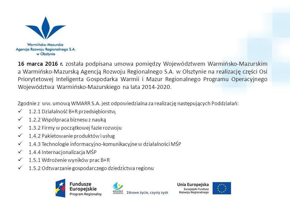 16 marca 2016 r. została podpisana umowa pomiędzy Województwem Warmińsko-Mazurskim a Warmińsko-Mazurską Agencją Rozwoju Regionalnego S.A. w Olsztynie