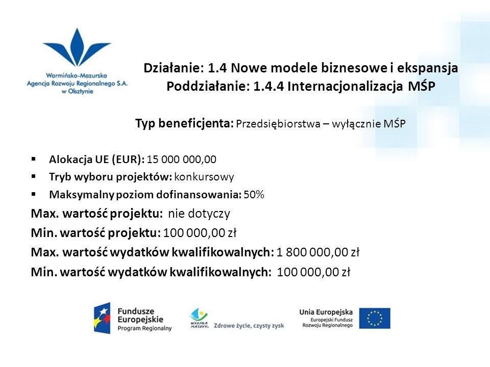 Typ beneficjenta: Przedsiębiorstwa – wyłącznie MŚP  Alokacja UE (EUR): 15 000 000,00  Tryb wyboru projektów: konkursowy  Maksymalny poziom dofinansowania: 50% Max.