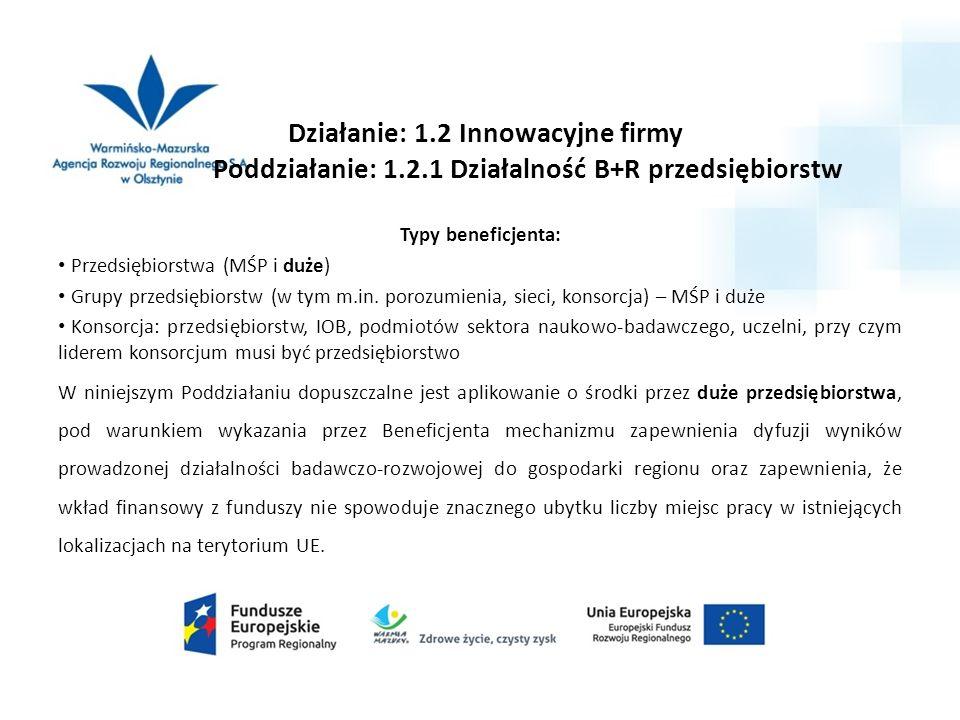 Działanie: 1.2 Innowacyjne firmy Poddziałanie: 1.2.1 Działalność B+R przedsiębiorstw Typy beneficjenta: Przedsiębiorstwa (MŚP i duże) Grupy przedsiębiorstw (w tym m.in.