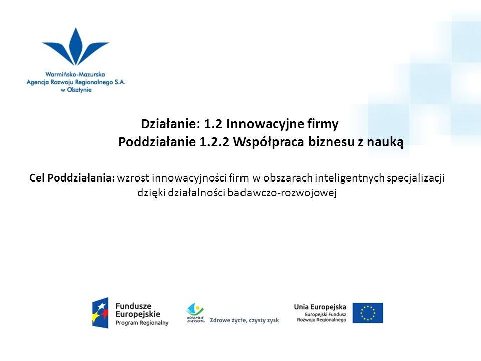 Działanie: 1.2 Innowacyjne firmy Poddziałanie 1.2.2 Współpraca biznesu z nauką Cel Poddziałania: wzrost innowacyjności firm w obszarach inteligentnych specjalizacji dzięki działalności badawczo-rozwojowej