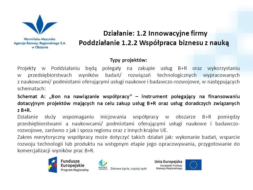 Działanie: 1.2 Innowacyjne firmy Poddziałanie 1.2.2 Współpraca biznesu z nauką Typy projektów: Projekty w Poddziałaniu będą polegały na zakupie usług