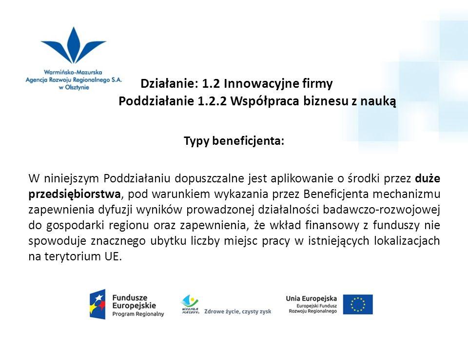 Działanie: 1.2 Innowacyjne firmy Poddziałanie 1.2.2 Współpraca biznesu z nauką Typy beneficjenta: W niniejszym Poddziałaniu dopuszczalne jest aplikowa