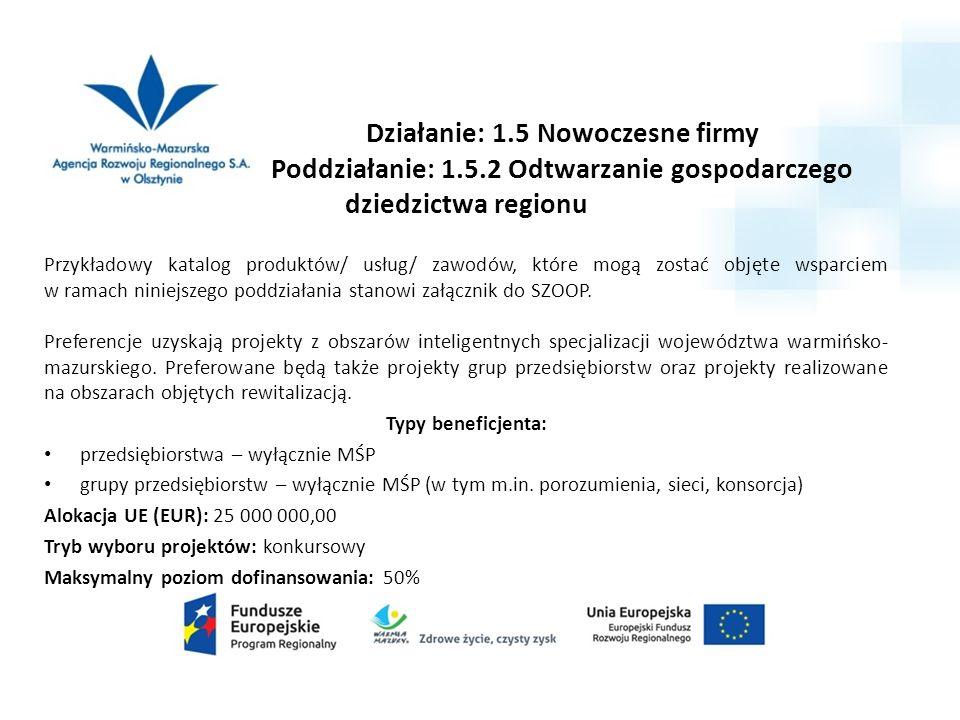 Działanie: 1.5 Nowoczesne firmy Poddziałanie: 1.5.2 Odtwarzanie gospodarczego dziedzictwa regionu Przykładowy katalog produktów/ usług/ zawodów, które