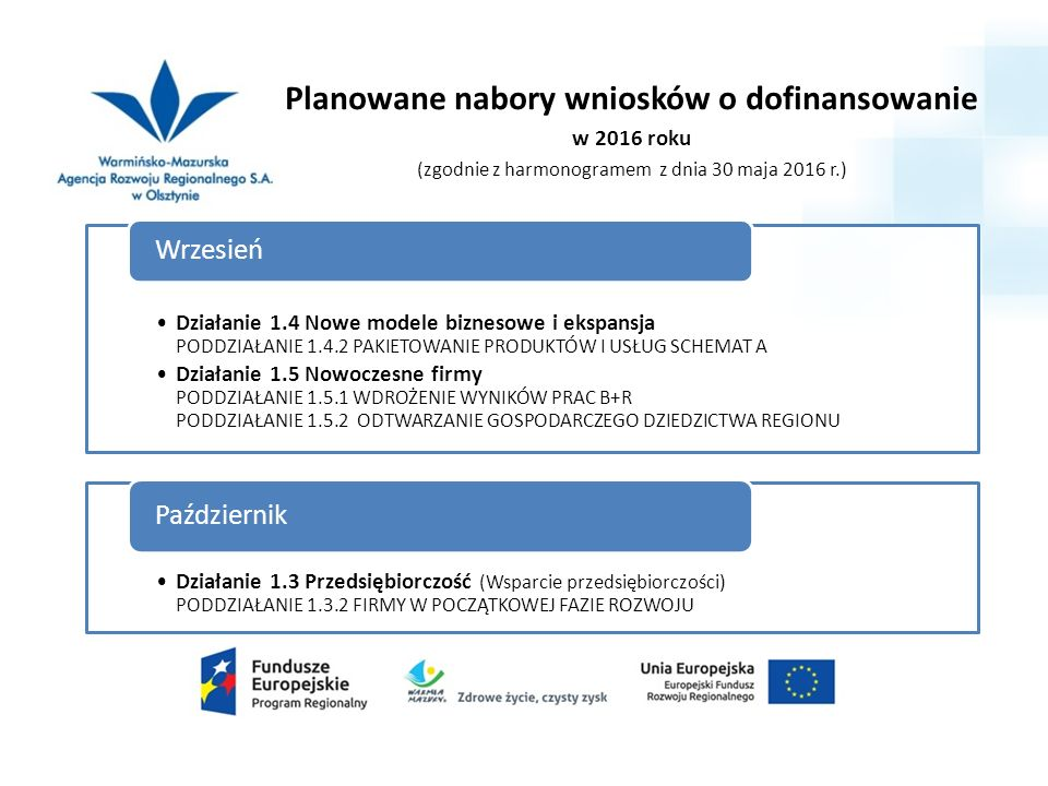 PUNKT INFORMACYJNY RPO WiM na lata 2014-2020 przy Warmińsko-Mazurskiej Agencji Rozwoju Regionalnego S.A.