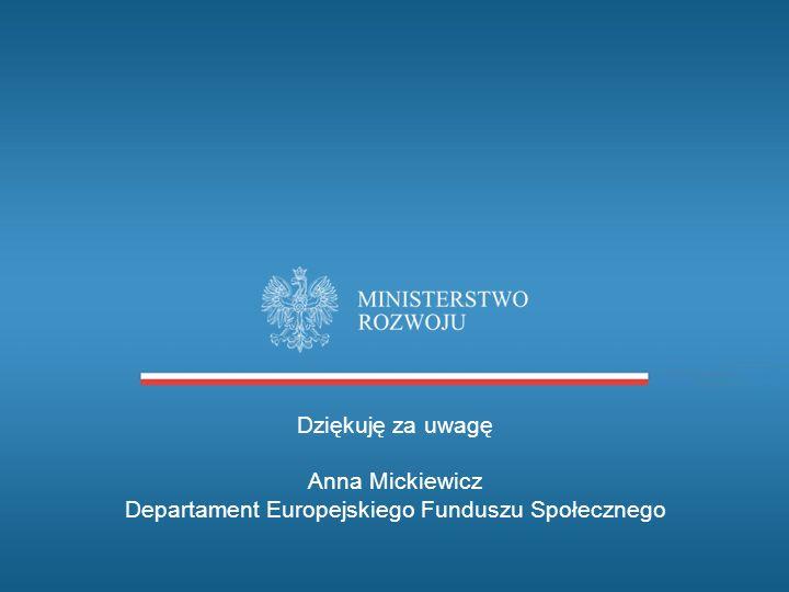 Dziękuję za uwagę Anna Mickiewicz Departament Europejskiego Funduszu Społecznego