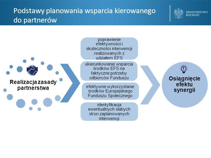 Podstawy planowania wsparcia kierowanego do partnerów Realizacja zasady partnerstwa Osiągnięcie efektu synergii identyfikacja ewentualnych słabych stron zaplanowanych interwencji efektywne wykorzystanie środków Europejskiego Funduszu Społecznego ukierunkowanie wsparcia środków EFS na faktyczne potrzeby odbiorców Funduszu poprawienie efektywności i skuteczności interwencji realizowanych z udziałem EFS