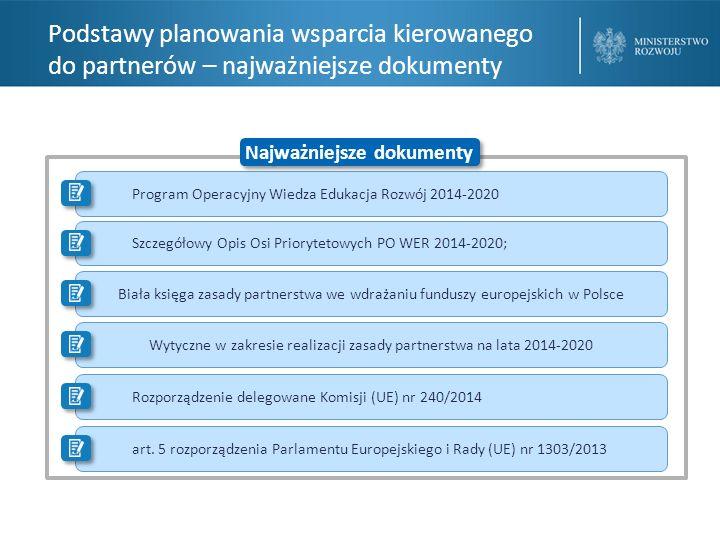 Wsparcie partnerów ze środków pomocy technicznej Programu Operacyjnego Wiedza Edukacja Rozwój 2014-2020 Zapewnienie efektywności działań o charakterze koordynacyjnym w zakresie wdrażania celów tematycznych 8–10 finansowanych z EFS w obszarze programowania, monitorowania, ewaluacji, systemu wyboru projektów oraz kwalifikowalności wydatków w ramach EFS Wsparcie partnerów poza działalnością KM PO WER Konkurs dotacji na wsparcie zasady partnerstwa oraz procesu koordynacji we wdrażaniu Europejskiego Funduszu Społecznego w Polsce w latach 2014-2020 Odpowiedź na potrzebę aktywnego włączenia partnerów w proces zarządzania funduszami unijnymi