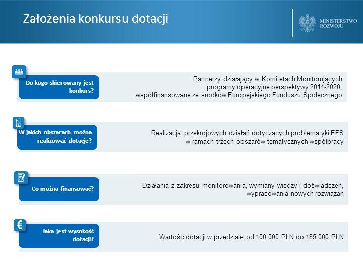 Założenia konkursu dotacji Partnerzy działający w Komitetach Monitorujących programy operacyjne perspektywy 2014-2020, współfinansowane ze środków Europejskiego Funduszu Społecznego Do kogo skierowany jest konkurs.