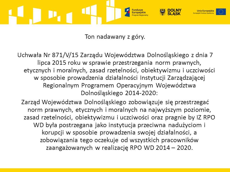 Ton nadawany z góry. Uchwała Nr 871/V/15 Zarządu Województwa Dolnośląskiego z dnia 7 lipca 2015 roku w sprawie przestrzegania norm prawnych, etycznych