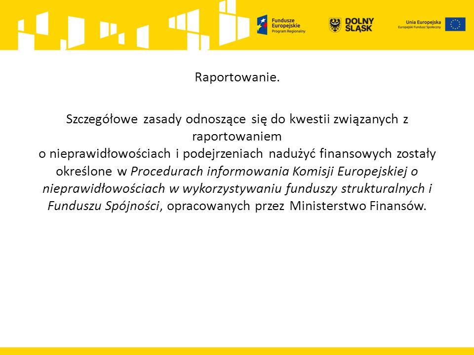 Raportowanie. Szczegółowe zasady odnoszące się do kwestii związanych z raportowaniem o nieprawidłowościach i podejrzeniach nadużyć finansowych zostały