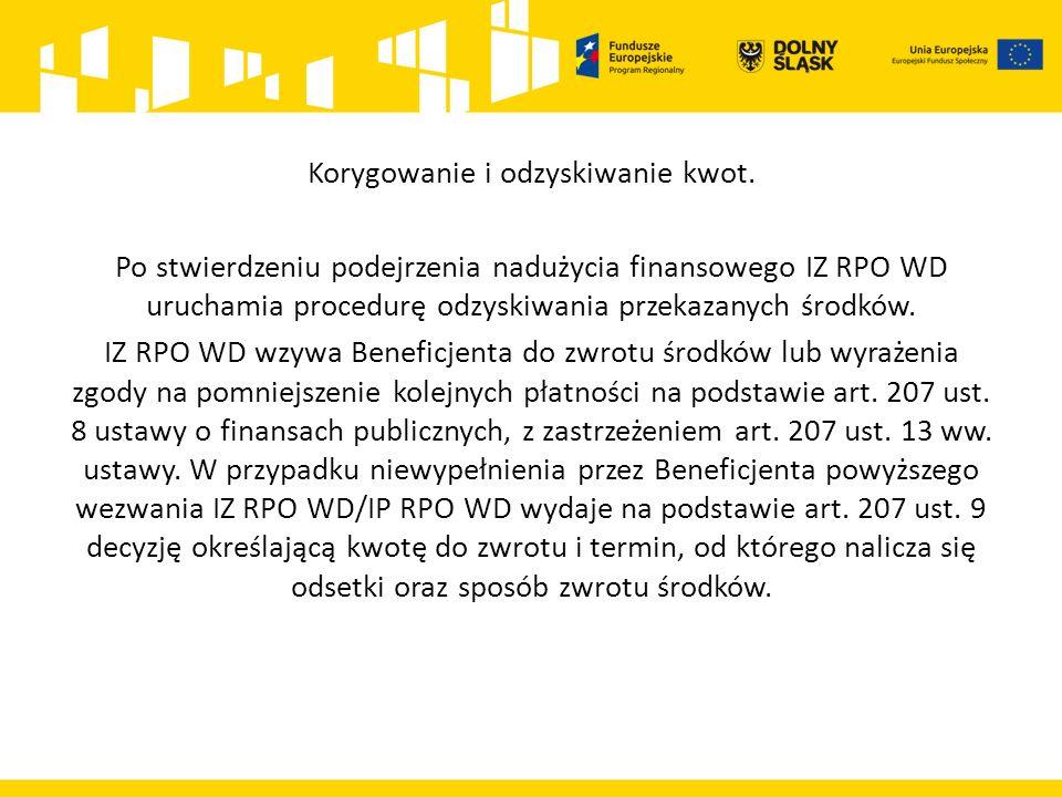 Korygowanie i odzyskiwanie kwot. Po stwierdzeniu podejrzenia nadużycia finansowego IZ RPO WD uruchamia procedurę odzyskiwania przekazanych środków. IZ