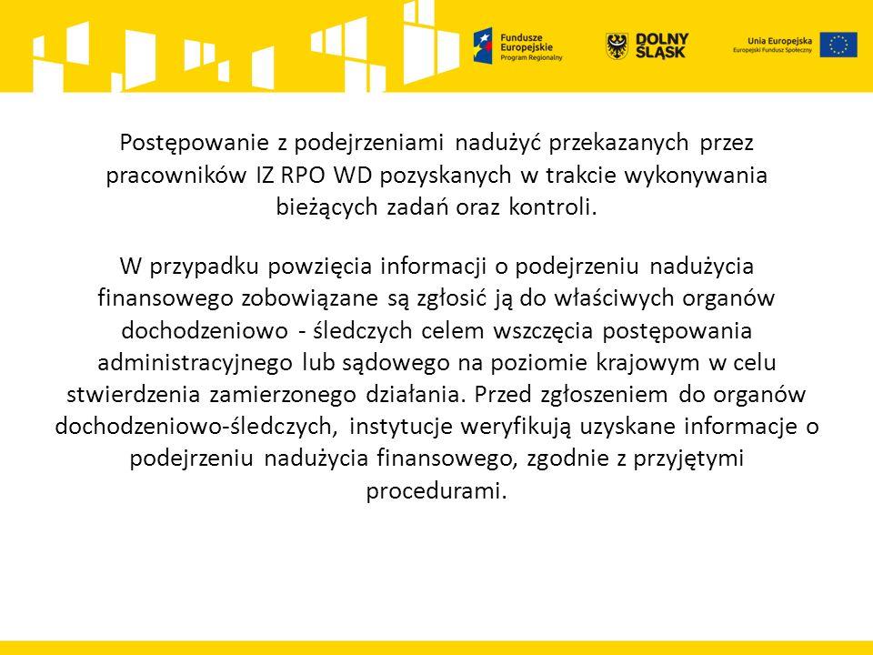 Postępowanie z podejrzeniami nadużyć przekazanych przez pracowników IZ RPO WD pozyskanych w trakcie wykonywania bieżących zadań oraz kontroli.