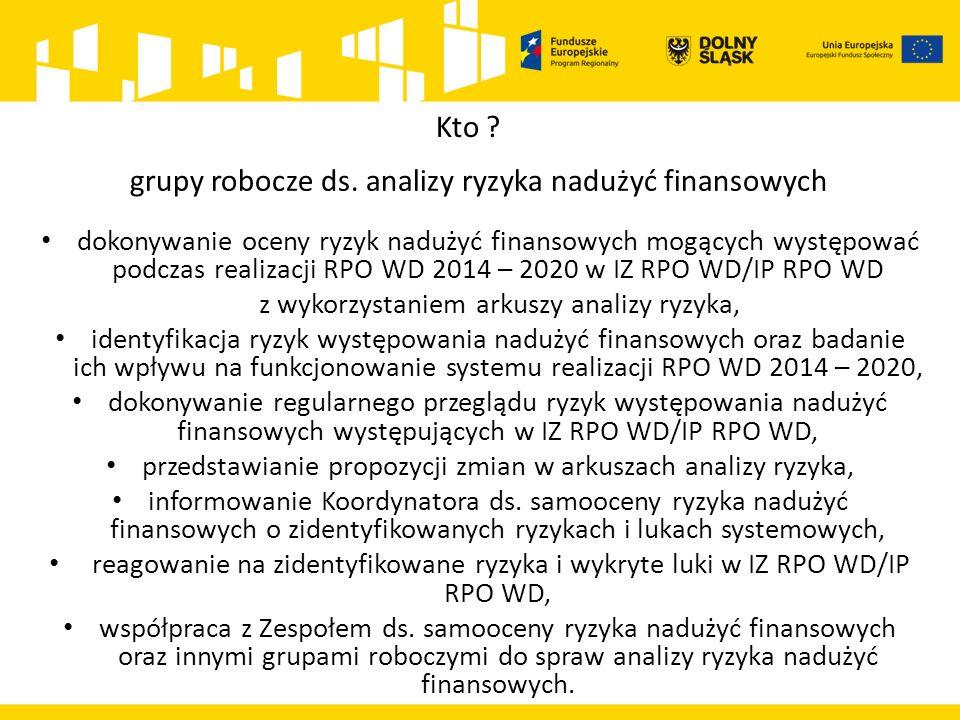 dokonywanie oceny ryzyk nadużyć finansowych mogących występować podczas realizacji RPO WD 2014 – 2020 w IZ RPO WD/IP RPO WD z wykorzystaniem arkuszy a