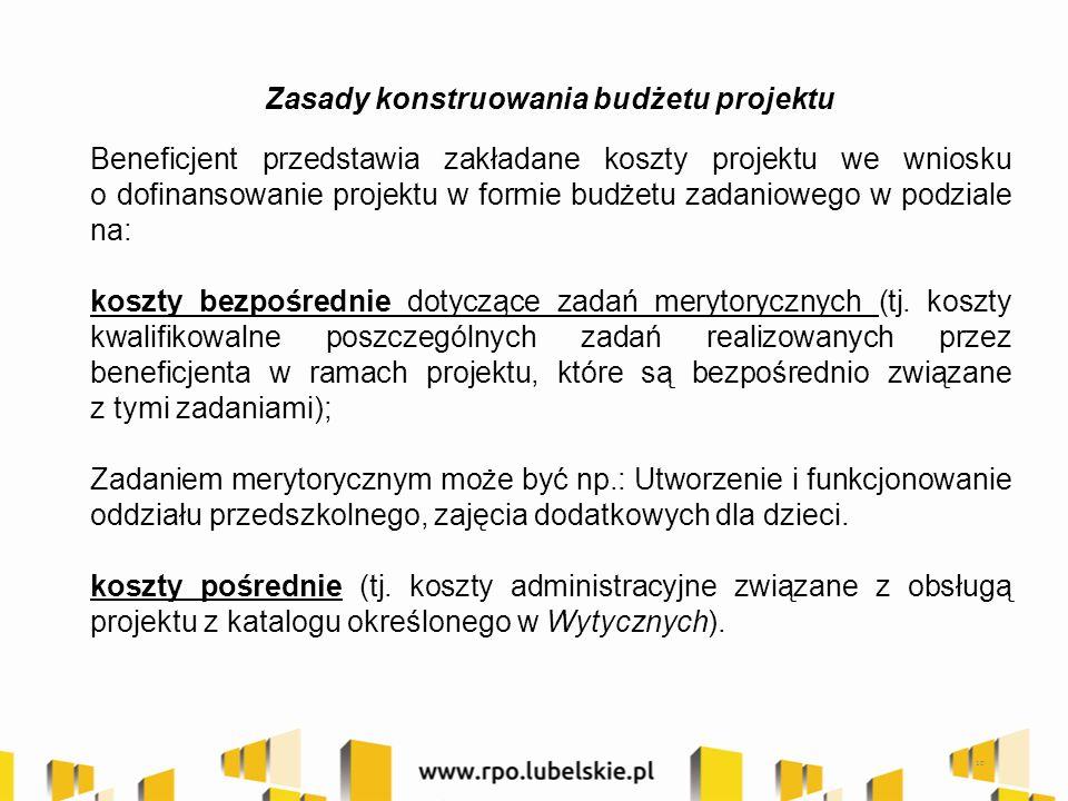 Zasady konstruowania budżetu projektu Beneficjent przedstawia zakładane koszty projektu we wniosku o dofinansowanie projektu w formie budżetu zadaniowego w podziale na: koszty bezpośrednie dotyczące zadań merytorycznych (tj.