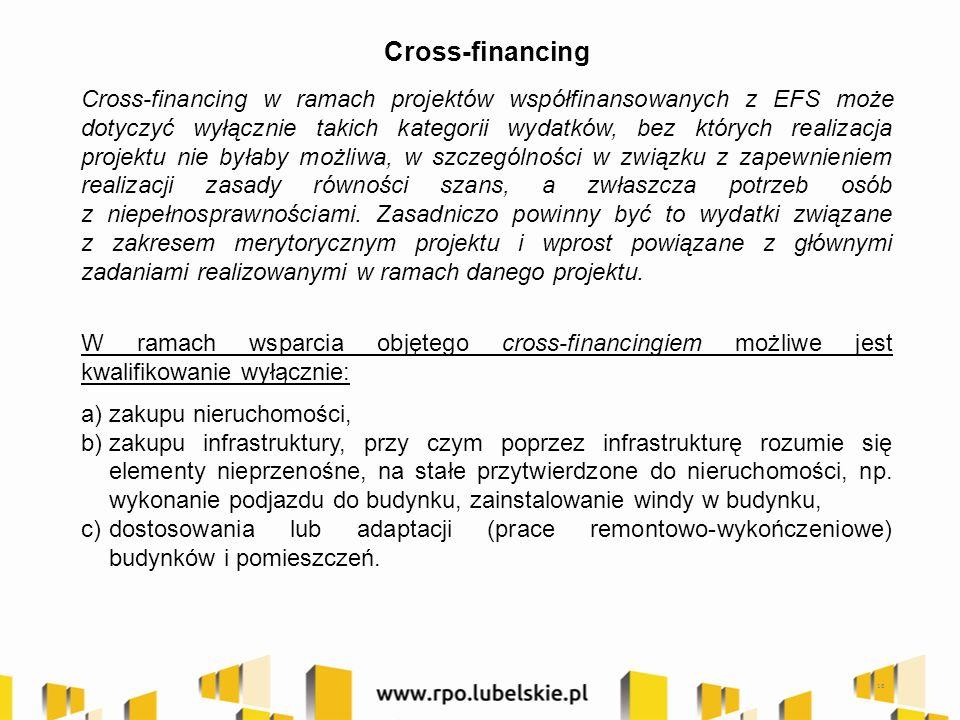 Cross-financing Cross-financing w ramach projektów współfinansowanych z EFS może dotyczyć wyłącznie takich kategorii wydatków, bez których realizacja projektu nie byłaby możliwa, w szczególności w związku z zapewnieniem realizacji zasady równości szans, a zwłaszcza potrzeb osób z niepełnosprawnościami.