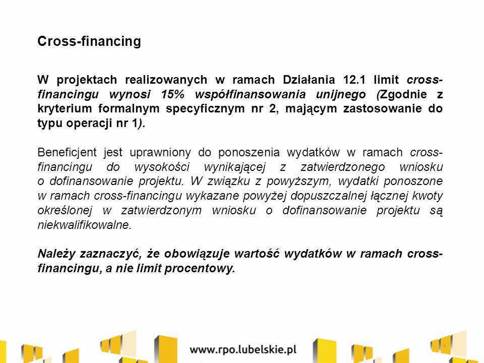 19 Cross-financing W projektach realizowanych w ramach Działania 12.1 limit cross- financingu wynosi 15% współfinansowania unijnego (Zgodnie z kryterium formalnym specyficznym nr 2, mającym zastosowanie do typu operacji nr 1).