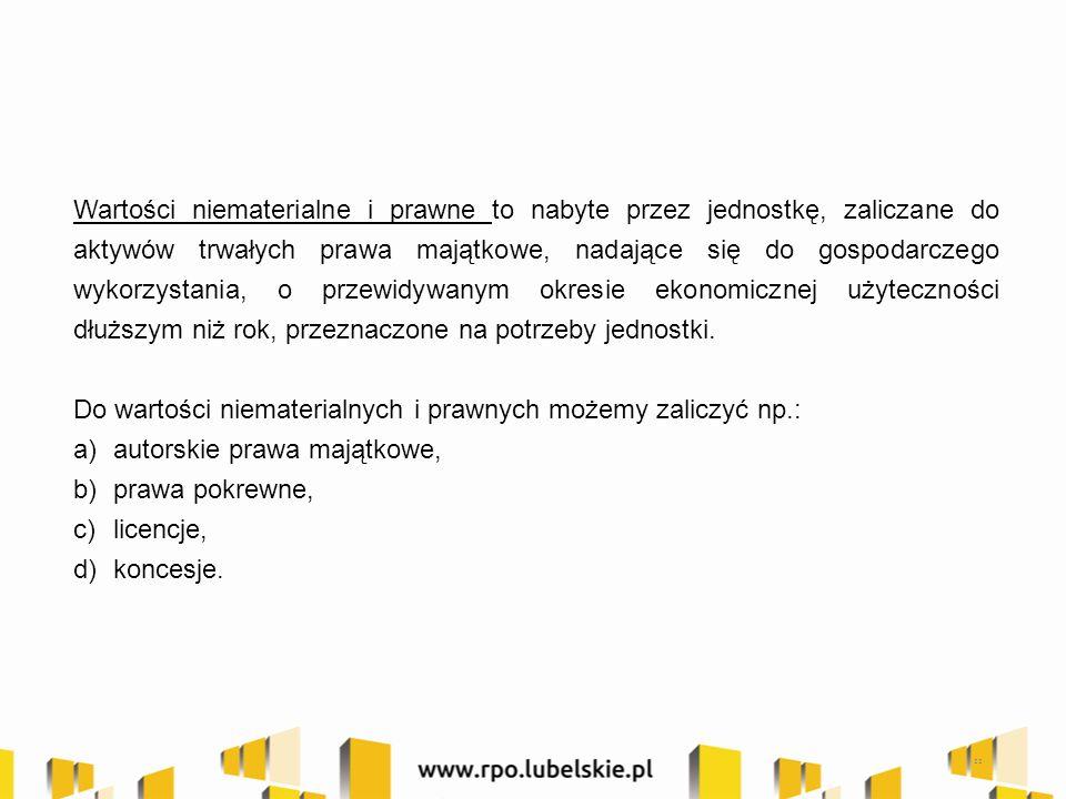 22 Wartości niematerialne i prawne to nabyte przez jednostkę, zaliczane do aktywów trwałych prawa majątkowe, nadające się do gospodarczego wykorzystan