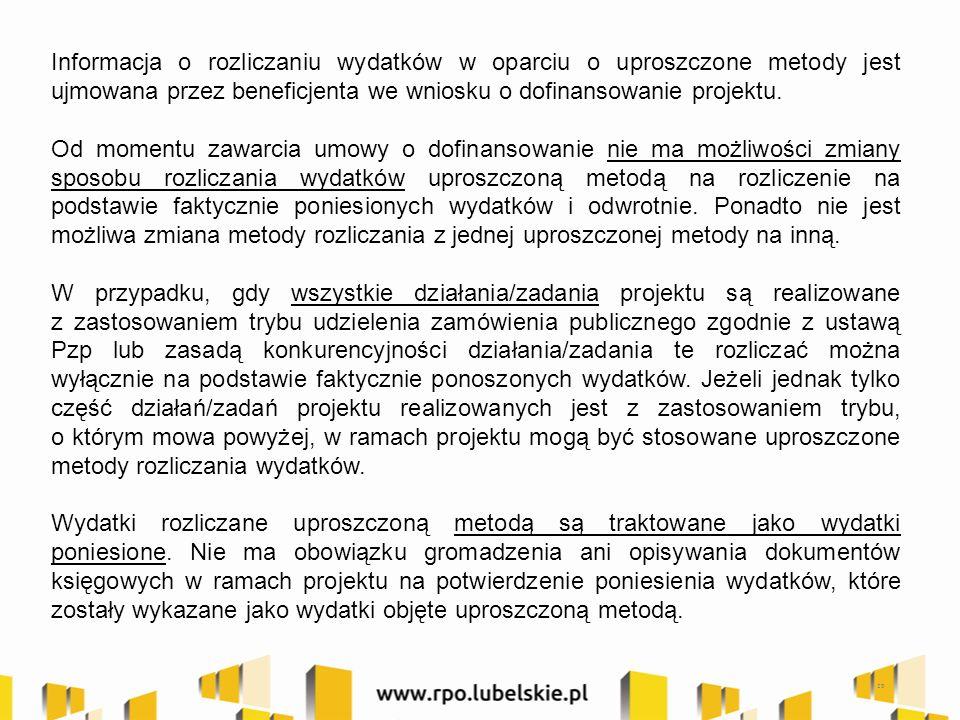 Informacja o rozliczaniu wydatków w oparciu o uproszczone metody jest ujmowana przez beneficjenta we wniosku o dofinansowanie projektu. Od momentu zaw