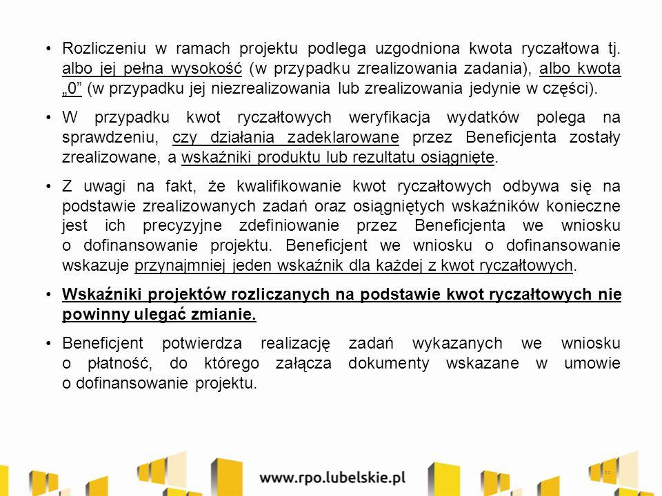 Rozliczeniu w ramach projektu podlega uzgodniona kwota ryczałtowa tj.