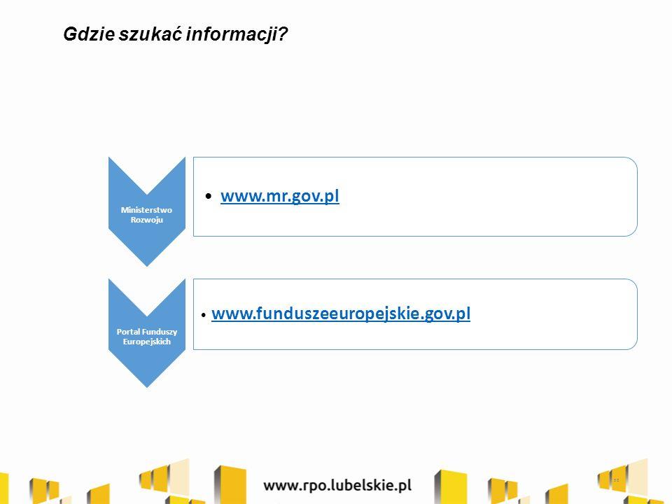 58 Gdzie szukać informacji? www.mr.gov.pl Ministerstwo Rozwoju Portal Funduszy Europejskich www.funduszeeuropejskie.gov.pl