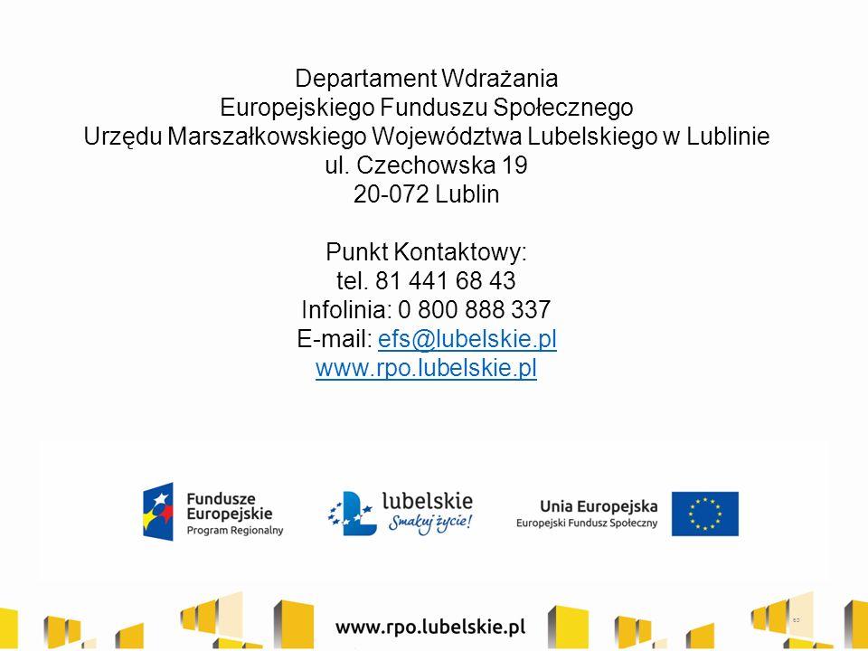 Departament Wdrażania Europejskiego Funduszu Społecznego Urzędu Marszałkowskiego Województwa Lubelskiego w Lublinie ul. Czechowska 19 20-072 Lublin Pu