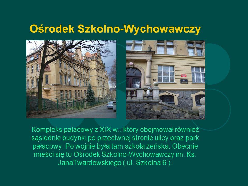 Ośrodek Szkolno-Wychowawczy Kompleks pałacowy z XIX w., który obejmował również sąsiednie budynki po przeciwnej stronie ulicy oraz park pałacowy.