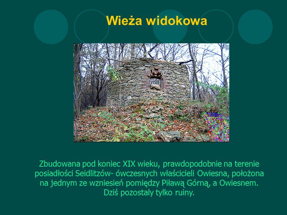 Wieża widokowa Zbudowana pod koniec XIX wieku, prawdopodobnie na terenie posiadłości Seidlitzów- ówczesnych właścicieli Owiesna, położona na jednym ze wzniesień pomiędzy Piławą Górną, a Owiesnem.