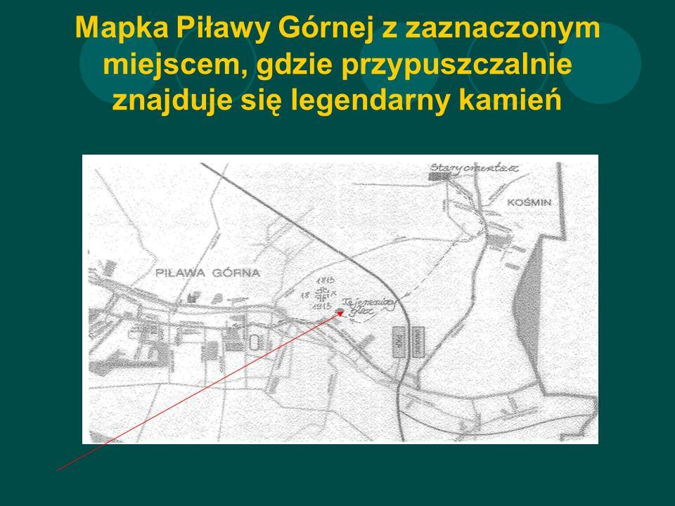 Mapka Piławy Górnej z zaznaczonym miejscem, gdzie przypuszczalnie znajduje się legendarny kamień