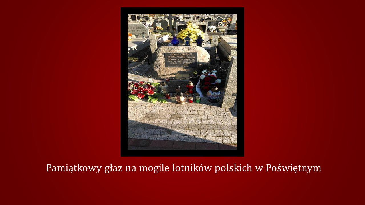 Pamiątkowy głaz na mogile lotników polskich w Poświętnym