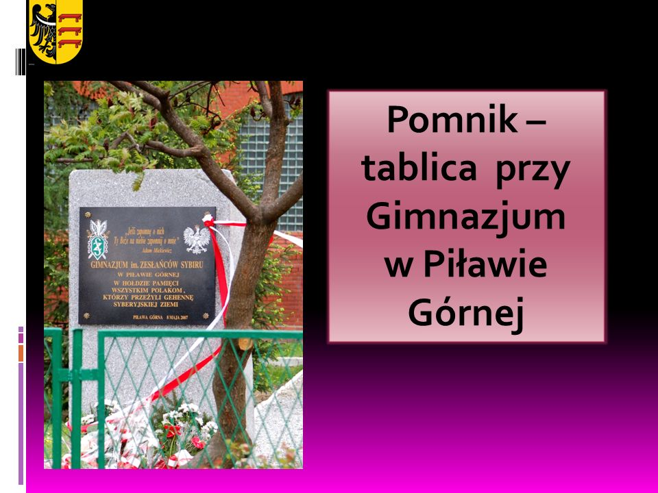 Pomnik – tablica przy Gimnazjum w Piławie Górnej