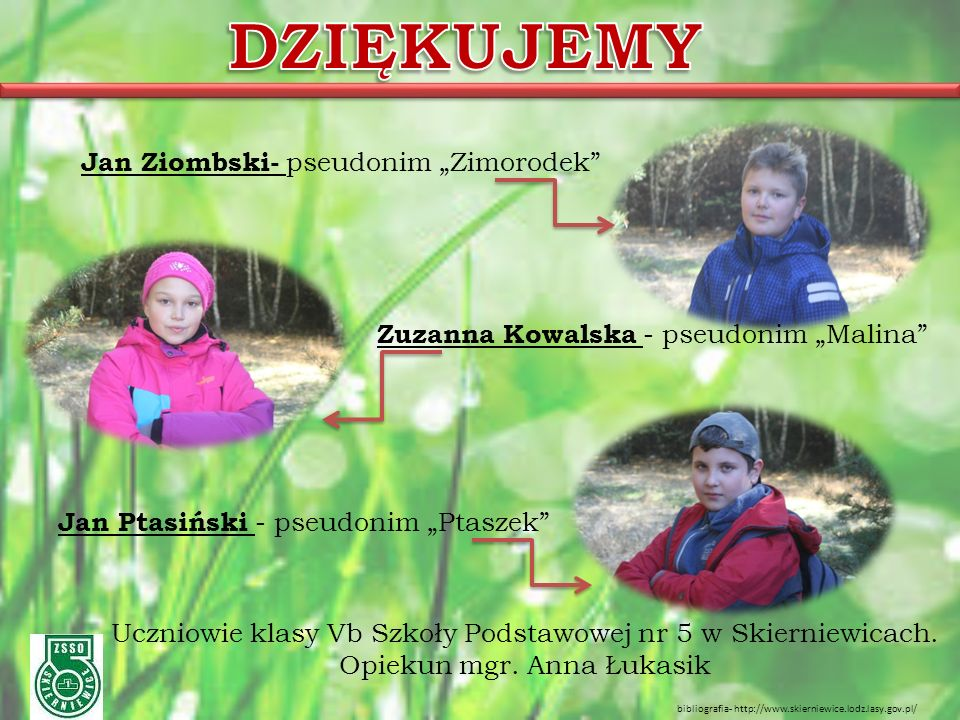 """Jan Ziombski- pseudonim """"Zimorodek"""" Zuzanna Kowalska - pseudonim """"Malina"""" Jan Ptasiński - pseudonim """"Ptaszek"""" Uczniowie klasy Vb Szkoły Podstawowej nr"""
