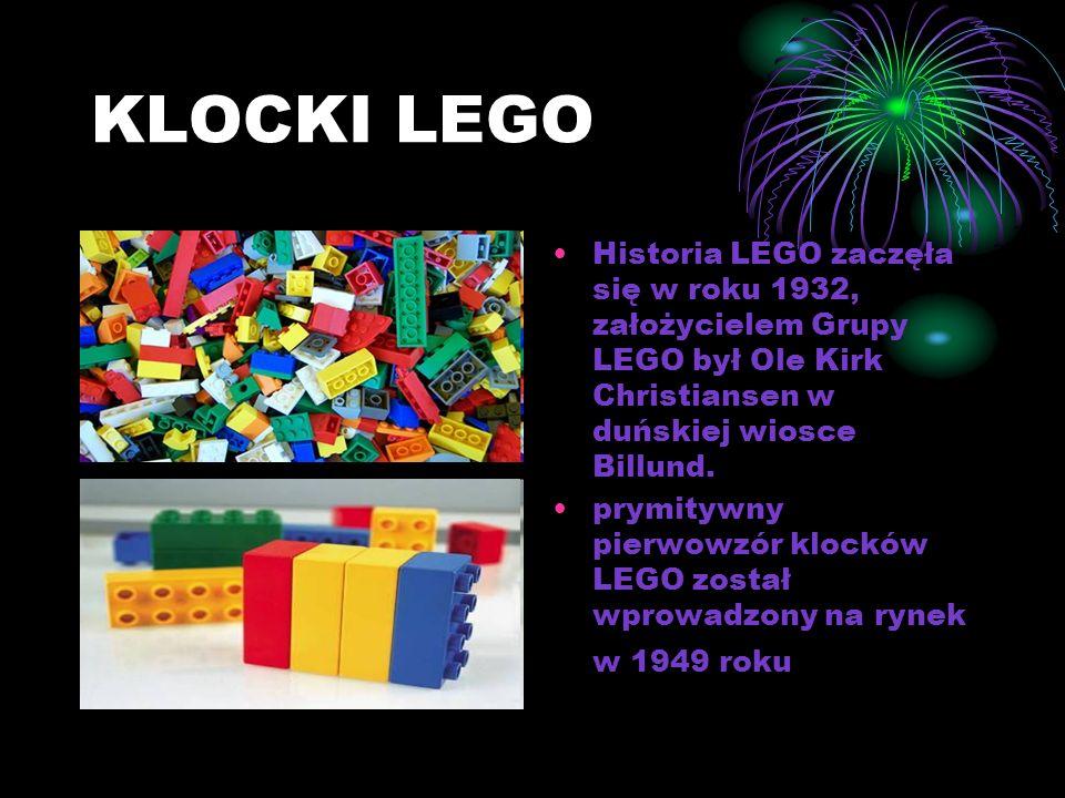 KLOCKI LEGO Historia LEGO zaczęła się w roku 1932, założycielem Grupy LEGO był Ole Kirk Christiansen w duńskiej wiosce Billund.