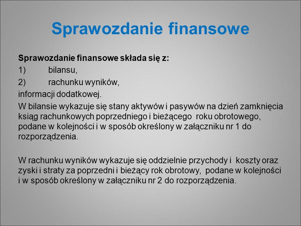 Sprawozdanie finansowe Sprawozdanie finansowe składa się z: 1)bilansu, 2)rachunku wyników, informacji dodatkowej.