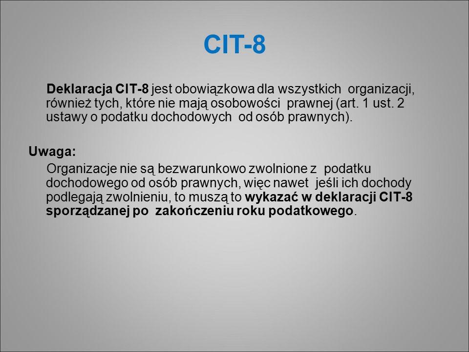 CIT-8 Deklaracja CIT-8 jest obowiązkowa dla wszystkich organizacji, również tych, które nie mają osobowości prawnej (art.