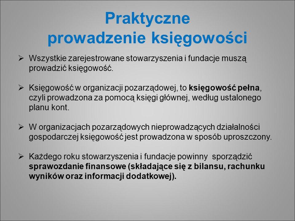 Praktyczne prowadzenie księgowości  Wszystkie zarejestrowane stowarzyszenia i fundacje muszą prowadzić księgowość.