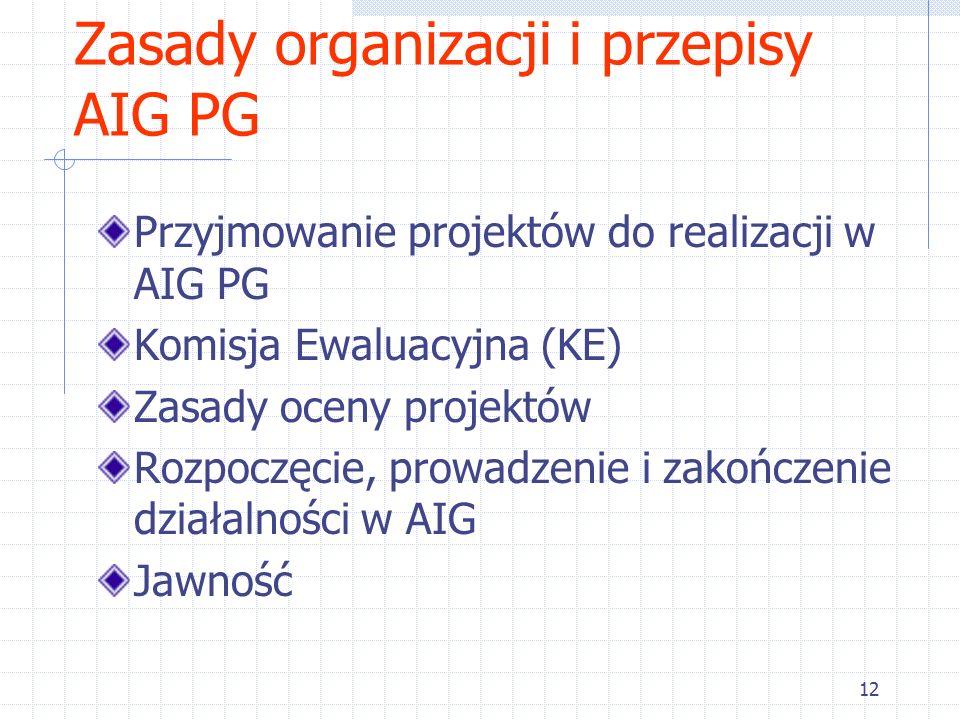 12 Zasady organizacji i przepisy AIG PG Przyjmowanie projektów do realizacji w AIG PG Komisja Ewaluacyjna (KE) Zasady oceny projektów Rozpoczęcie, prowadzenie i zakończenie działalności w AIG Jawność