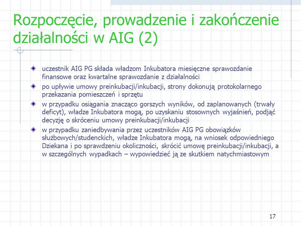 17 Rozpoczęcie, prowadzenie i zakończenie działalności w AIG (2) uczestnik AIG PG składa władzom Inkubatora miesięczne sprawozdanie finansowe oraz kwartalne sprawozdanie z działalności po upływie umowy preinkubacji/inkubacji, strony dokonują protokolarnego przekazania pomieszczeń i sprzętu w przypadku osiągania znacząco gorszych wyników, od zaplanowanych (trwały deficyt), władze Inkubatora mogą, po uzyskaniu stosownych wyjaśnień, podjąć decyzję o skróceniu umowy preinkubacji/inkubacji w przypadku zaniedbywania przez uczestników AIG PG obowiązków służbowych/studenckich, władze Inkubatora mogą, na wniosek odpowiedniego Dziekana i po sprawdzeniu okoliczności, skrócić umowę preinkubacji/inkubacji, a w szczególnych wypadkach – wypowiedzieć ją ze skutkiem natychmiastowym