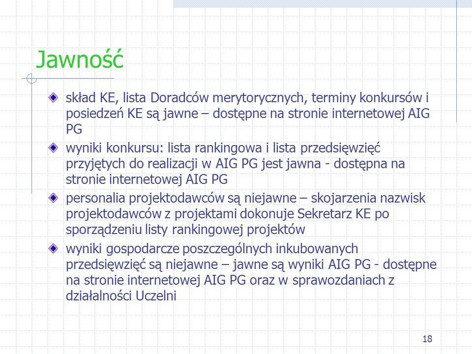 18 Jawność skład KE, lista Doradców merytorycznych, terminy konkursów i posiedzeń KE są jawne – dostępne na stronie internetowej AIG PG wyniki konkursu: lista rankingowa i lista przedsięwzięć przyjętych do realizacji w AIG PG jest jawna - dostępna na stronie internetowej AIG PG personalia projektodawców są niejawne – skojarzenia nazwisk projektodawców z projektami dokonuje Sekretarz KE po sporządzeniu listy rankingowej projektów wyniki gospodarcze poszczególnych inkubowanych przedsięwzięć są niejawne – jawne są wyniki AIG PG - dostępne na stronie internetowej AIG PG oraz w sprawozdaniach z działalności Uczelni