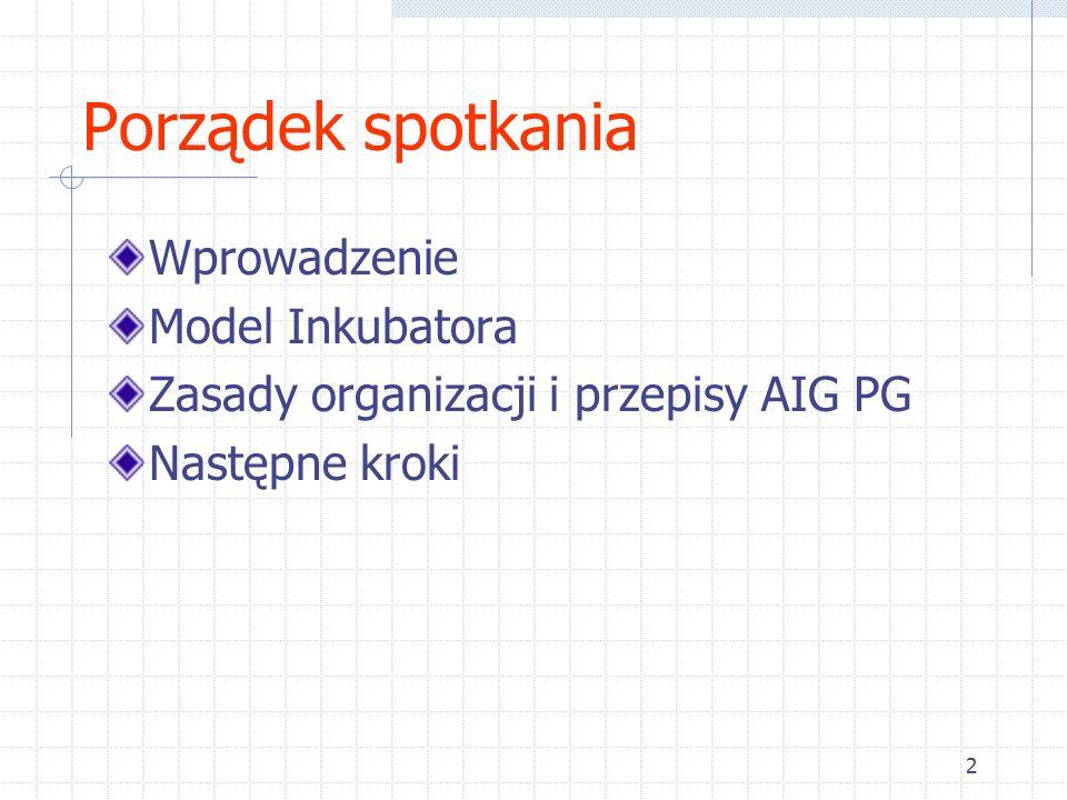 2 Porządek spotkania Wprowadzenie Model Inkubatora Zasady organizacji i przepisy AIG PG Następne kroki