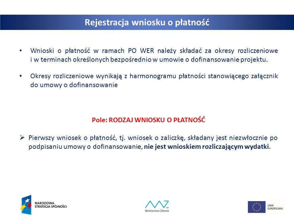12 Wnioski o płatność w ramach PO WER należy składać za okresy rozliczeniowe i w terminach określonych bezpośrednio w umowie o dofinansowanie projektu