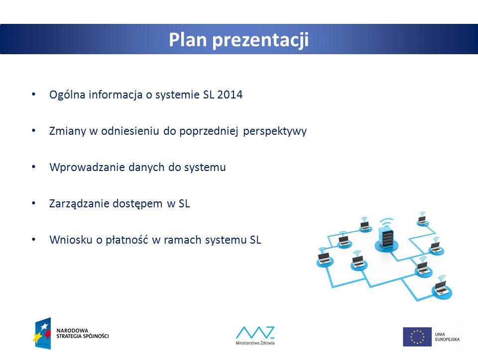 2 Plan prezentacji Ogólna informacja o systemie SL 2014 Zmiany w odniesieniu do poprzedniej perspektywy Wprowadzanie danych do systemu Zarządzanie dostępem w SL Wniosku o płatność w ramach systemu SL