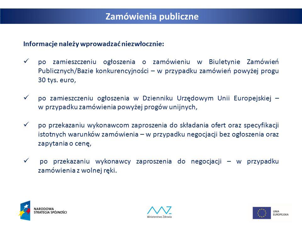 24 Informacje należy wprowadzać niezwłocznie: po zamieszczeniu ogłoszenia o zamówieniu w Biuletynie Zamówień Publicznych/Bazie konkurencyjności – w pr